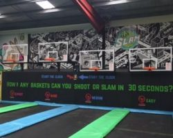 Indoor tramp centre with glass backboards