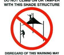 Shade sail Warning Sticker