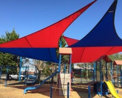 red and blue shade sail