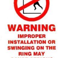 Basketball warning sticker
